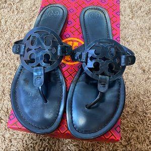 Metallic Blue Tory Burch Miller Sandals